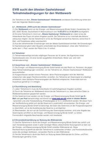 Teilnahmebedingungen - Energie- und Wasserversorgung Bünde ...