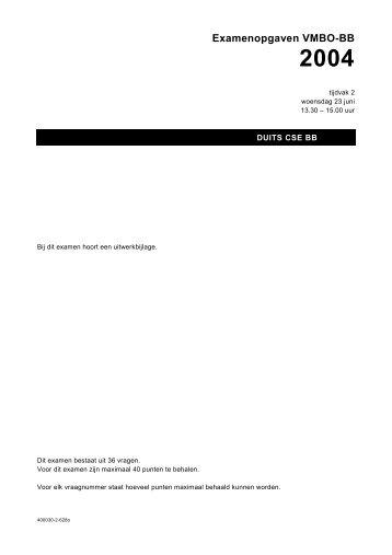 Examenopgaven VMBO-BB 2004 - Examenblad.nl