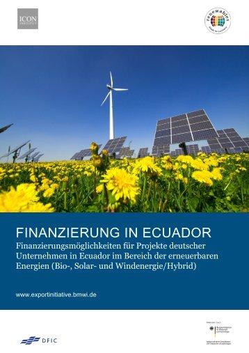Finanzierungsstudie Ecuador - Exportinitiative Erneuerbare Energien