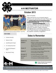 4-H MOTIVATOR Dates to Remember October 2013 - Iowa State ...