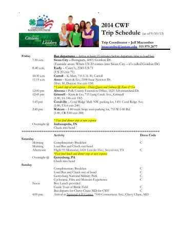 Trip Schedule - Iowa State University Extension and Outreach