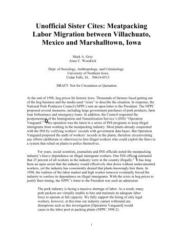 Unofficial Sister Cites: Meatpacking Labor Migration between ...