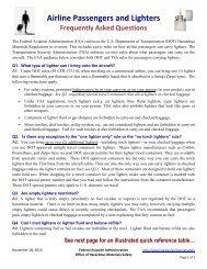 Airline Passengers and Lighters FAQ's, November 2013 - FAA