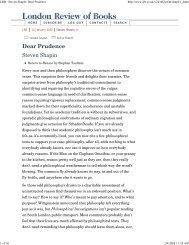 LRB · Steven Shapin: Dear Prudence