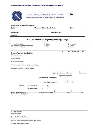 DPA 2298 Schweine: Aujeszky-Impfung [2298] v2 - FAVV
