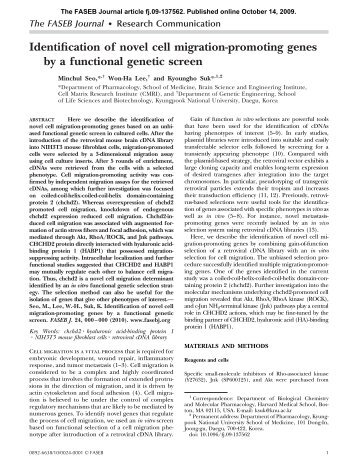 Identification of novel cell migration-promoting genes by a functional ...