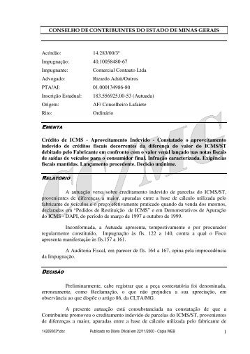 Microsoft Word - 14283003\252.doc - Secretaria de Estado de ...