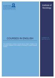 Institute of Sociology GU Frankfurt International Courses