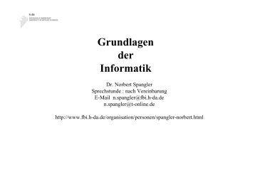 Grundlagen der Informatik - Fachbereich Informatik