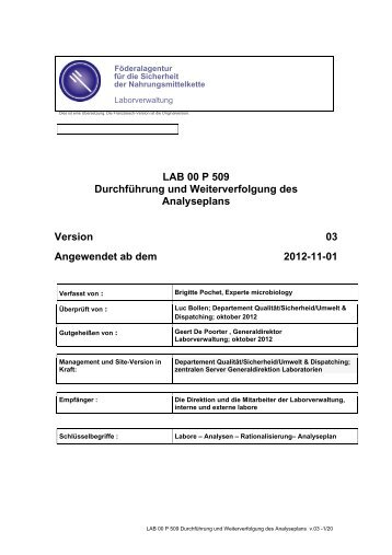 Durchführung und Weiterverfolgung des Analyseplans LAB ... - Favv