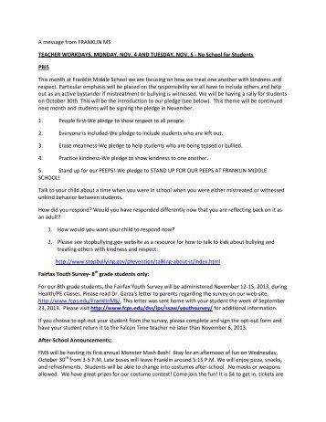 October 25, 2013 - Fairfax County Public Schools