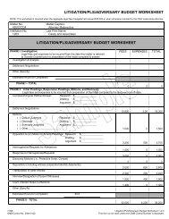 LITIGATION/PLS/ADVERSARY BUDGET WORKSHEET LITIGATION ...