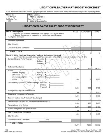 LITIGATION/PLS/ADVERSARY BUDGET WORKSHEET LITIGATION ...