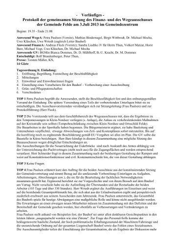 Protokoll der gemeinsamen Sitzung des Finanz ... - Gemeinde Felde