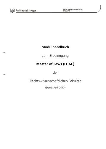 Modulhandbuch Master of Laws