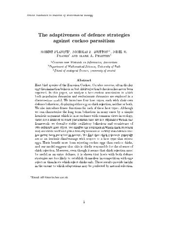 Article Submitted to Bulletin of Mathematical Biology The ...