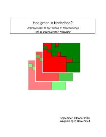 Hoe groen is Nederland? - Feweb