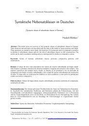 Syntaktische Nebensatzklassen im Deutschen - fflch - USP