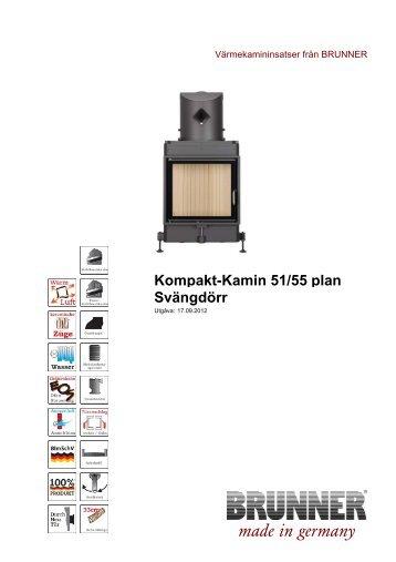 Kompakt-Kamin 51/55 plan Svängdörr made in germany - Brunner