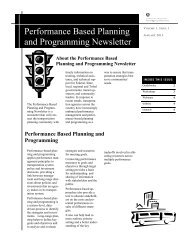 Performance Based Planning and Programming Newsletter