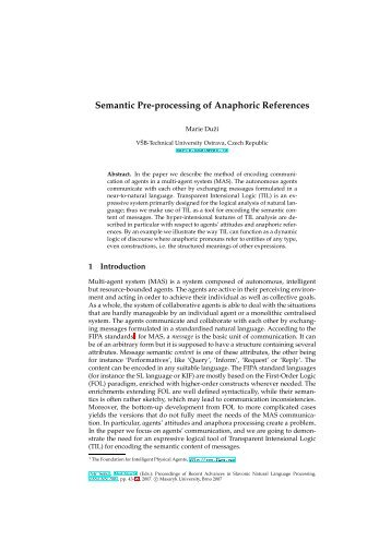 Semantic Pre-processing of Anaphoric References