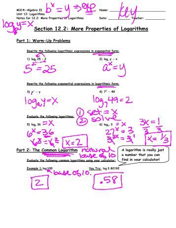 A worksheet on proving the properties of logarithms