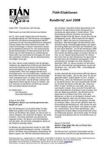 FIAN-Eilaktionen Rundbrief Juni 2008 - FIAN Österreich