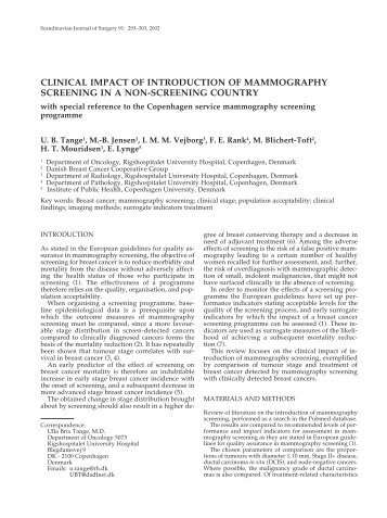 clinical impact of introduction of mammography screening ... - FiMnet