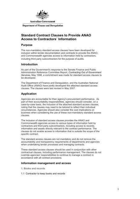 Standard Contract Clauses to Provide ANAO Access to