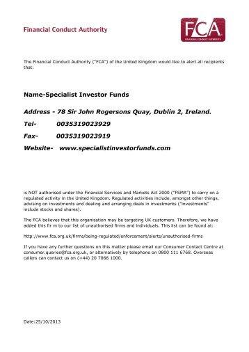 Specialist Investor Funds IOSCO Alert .PM - Finanstilsynet