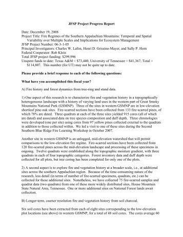 JFSP Project Progress Report Date: December 19, 2008 Project ...