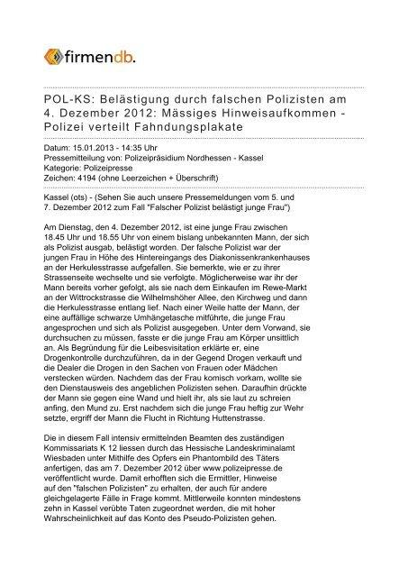 POL-KS: Belästigung durch falschen Polizisten am 4 ... - Firmendb