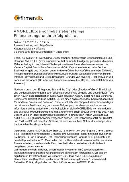 AMORELIE.de schließt siebenstellige ... - Firmendb