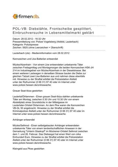 POL-VB: Diebstähle, Frontscheibe gesplittert ... - Firmendb