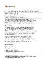 POL-MI: Verdächtiger soll Auto demoliert haben - Firmendb