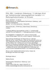 POL-DEL: Landkreis Oldenburg: 11-jähriges Kind bei ... - Firmendb