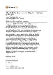 POL-BI: LKW-Unfall auf der BAB 2 mit mehreren Beteiligten - Firmendb
