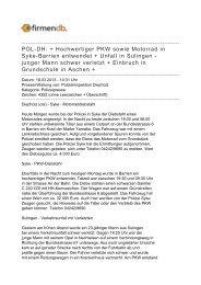 POL-DH: + Hochwertiger PKW sowie Motorrad in Syke-Barrien ...