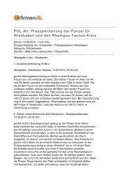 POL-WI: Pressemitteilung der Polizei für Wiesbaden und ... - Firmendb
