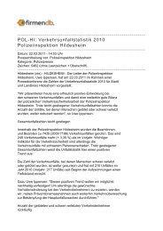 POL-HI: Verkehrsunfallstatistik 2010 Polizeiinspektion ... - Firmendb