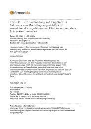 POL-LG: ++ Bruchlandung auf Flugplatz ++ Fahrwerk ... - Firmendb