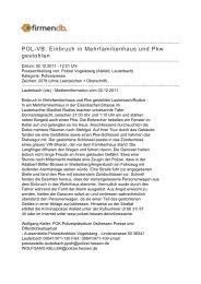 POL-VB: Einbruch in Mehrfamilienhaus und Pkw gestohlen - Firmendb