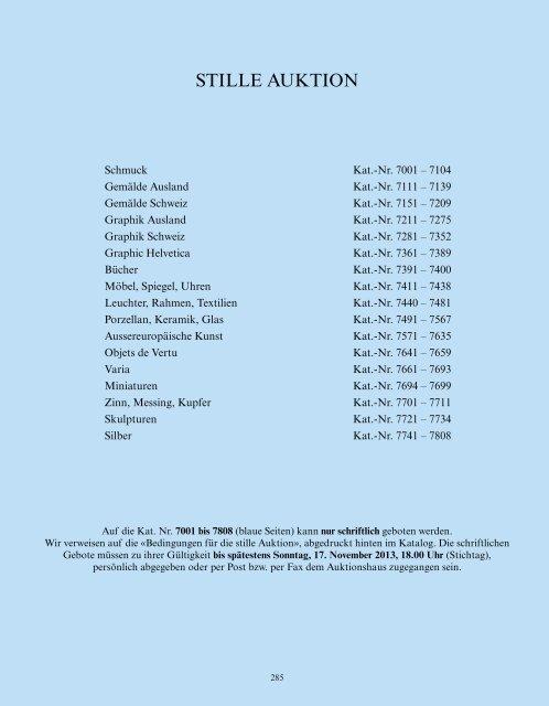 Stille Auktion, Kat.-Nr. 7001-7808 - Galerie Fischer Auktionen AG