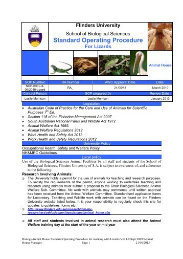 Standard Operating Procedure For Lizards - Flinders University