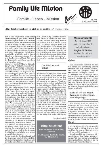 Rundbrief Nr 093 - Family Life Mission eV