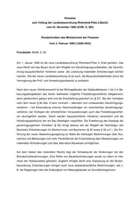 Hinweise Zum Vollzug Der Landesbauordnung Rheinland Pfalz