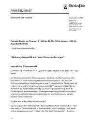 Rede von Finanzminister Dr. Carsten Kühl am 24. Mai 2013 in ...