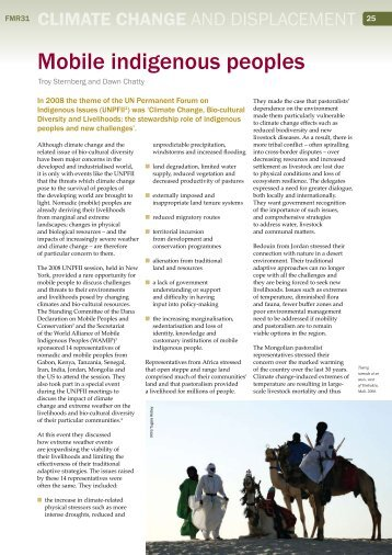 Mobile indigenous peoples - Forced Migration Review