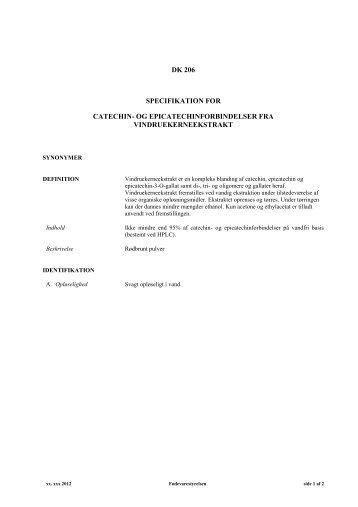 Specifikation for catechin - Fødevarestyrelsen