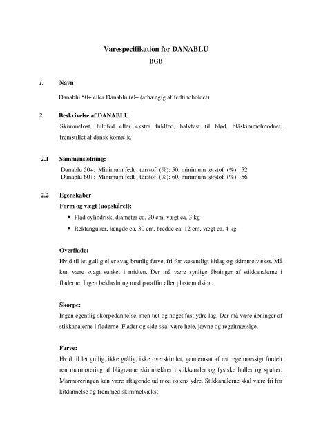 Varespecifikation for Danablu (rev. 12.7.2011) - Fødevarestyrelsen